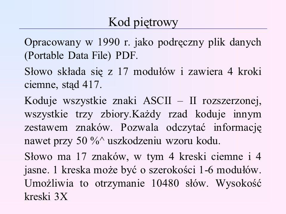 Kod piętrowyOpracowany w 1990 r. jako podręczny plik danych (Portable Data File) PDF.