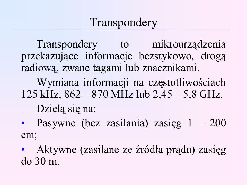 Transpondery Transpondery to mikrourządzenia przekazujące informacje bezstykowo, drogą radiową, zwane tagami lub znacznikami.