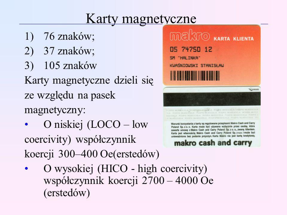 Karty magnetyczne 76 znaków; 37 znaków; 105 znaków