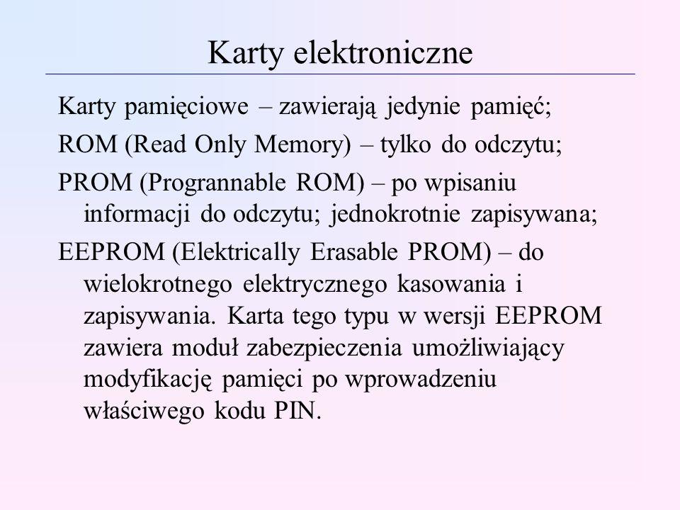 Karty elektroniczne Karty pamięciowe – zawierają jedynie pamięć;