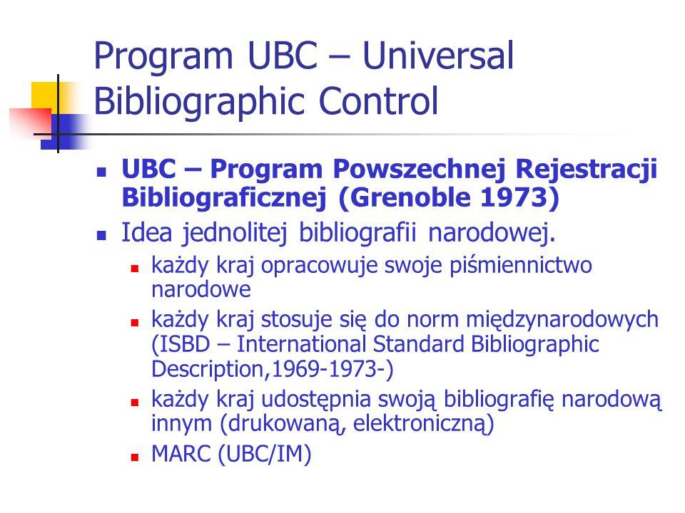 Program UBC – Universal Bibliographic Control