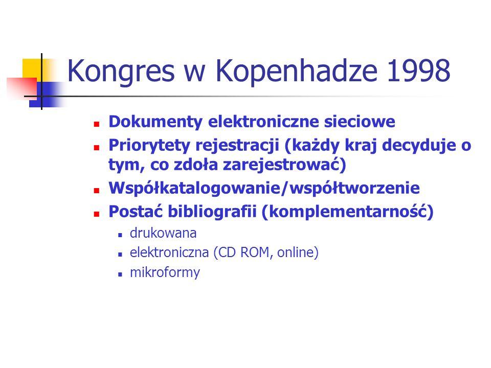 Kongres w Kopenhadze 1998 Dokumenty elektroniczne sieciowe