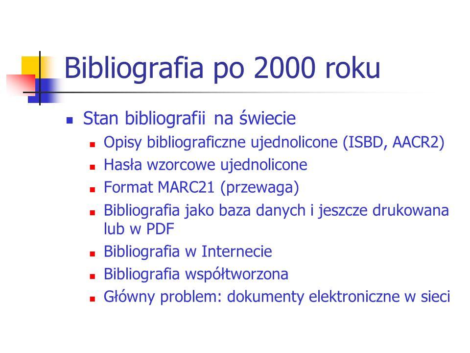 Bibliografia po 2000 roku Stan bibliografii na świecie