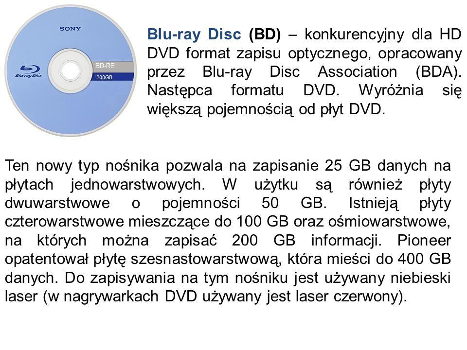 Blu-ray Disc (BD) – konkurencyjny dla HD DVD format zapisu optycznego, opracowany przez Blu-ray Disc Association (BDA). Następca formatu DVD. Wyróżnia się większą pojemnością od płyt DVD.