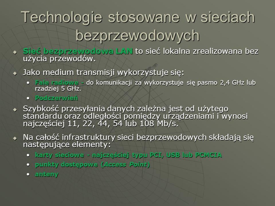 Technologie stosowane w sieciach bezprzewodowych