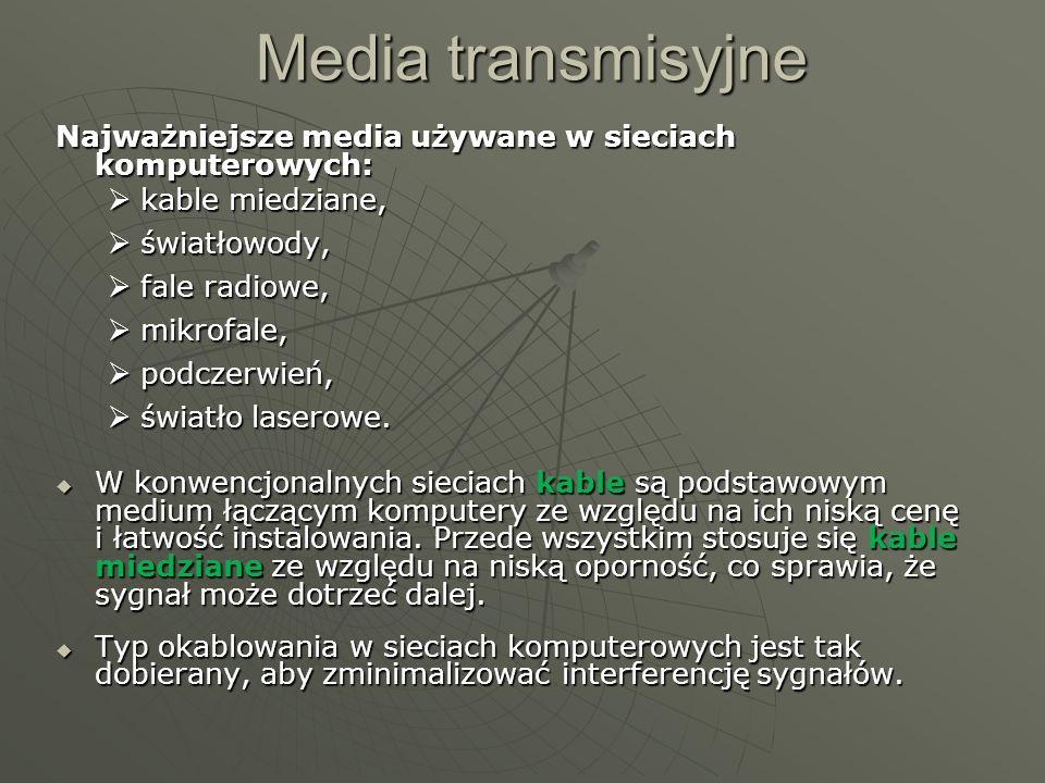 Media transmisyjne Najważniejsze media używane w sieciach komputerowych: kable miedziane, światłowody,