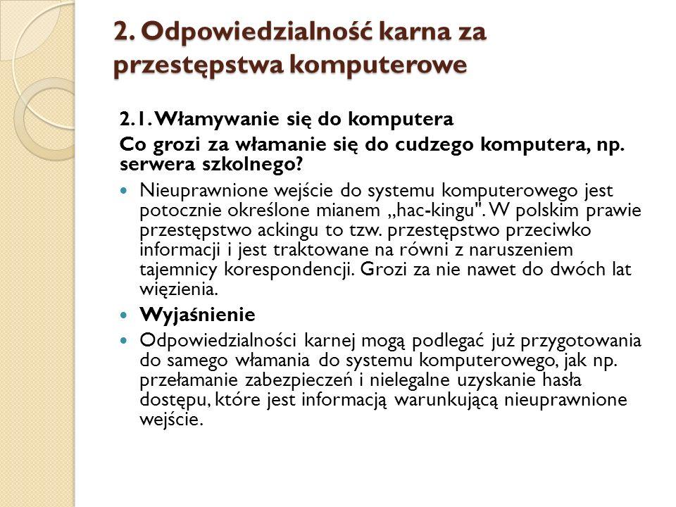 2. Odpowiedzialność karna za przestępstwa komputerowe