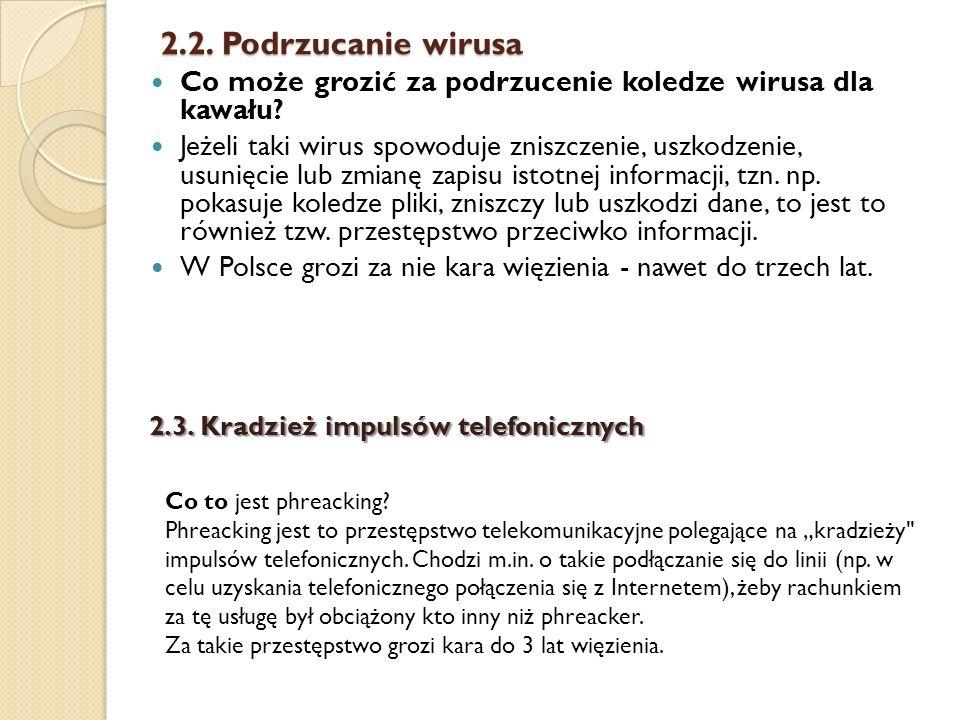 2.2. Podrzucanie wirusa Co może grozić za podrzucenie koledze wirusa dla kawału