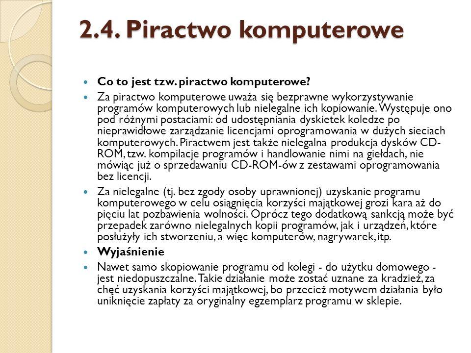 2.4. Piractwo komputerowe Co to jest tzw. piractwo komputerowe