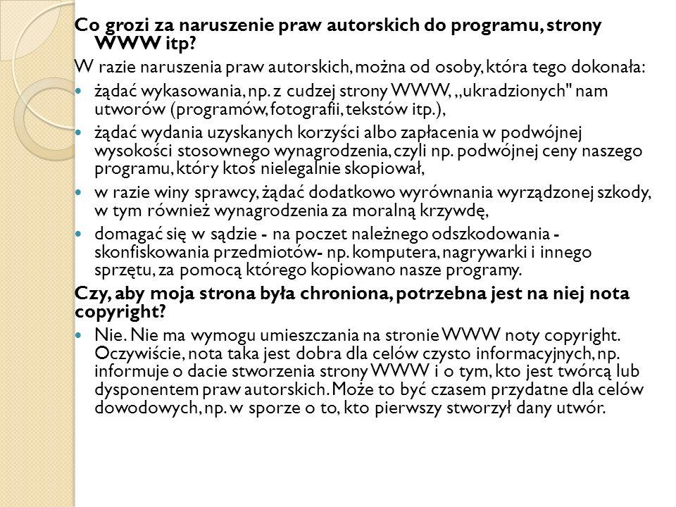 Co grozi za naruszenie praw autorskich do programu, strony WWW itp