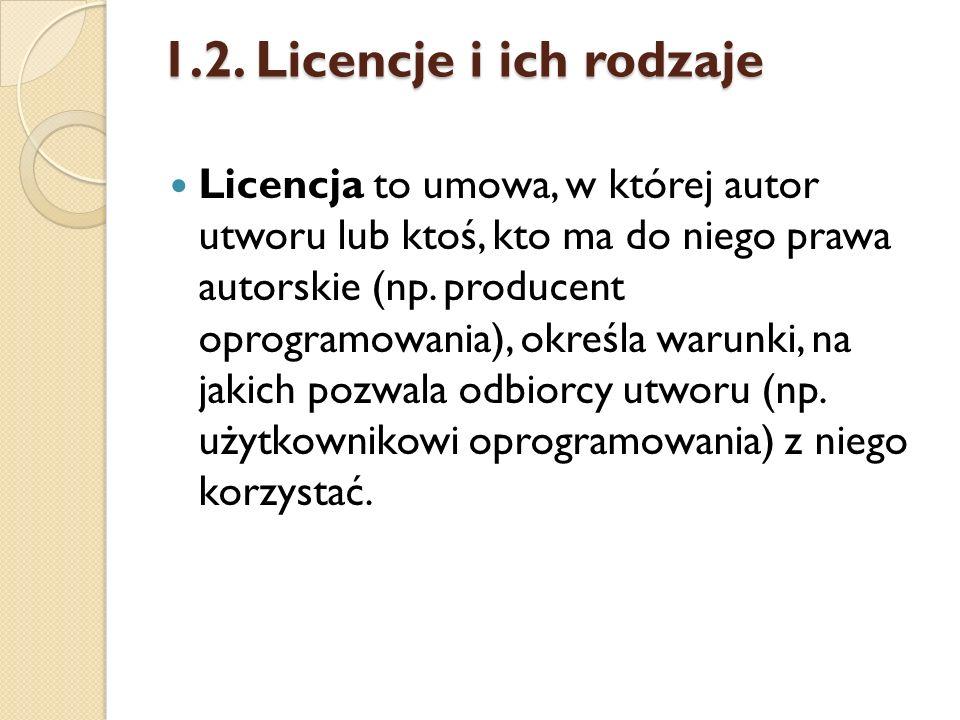 1.2. Licencje i ich rodzaje