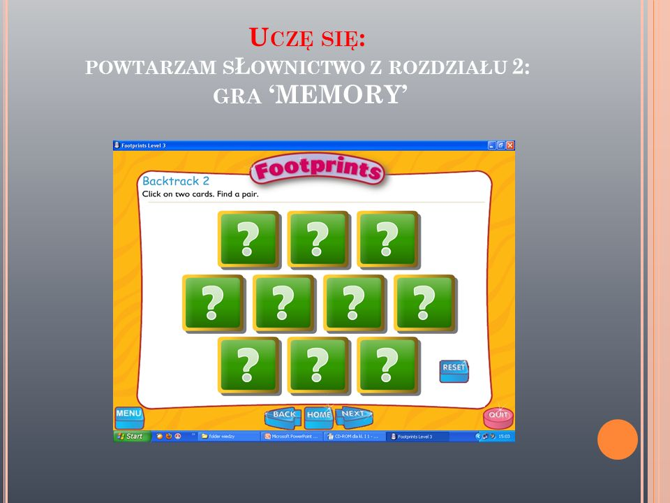 Uczę się: powtarzam sŁownictwo z rozdziału 2: gra 'MEMORY'