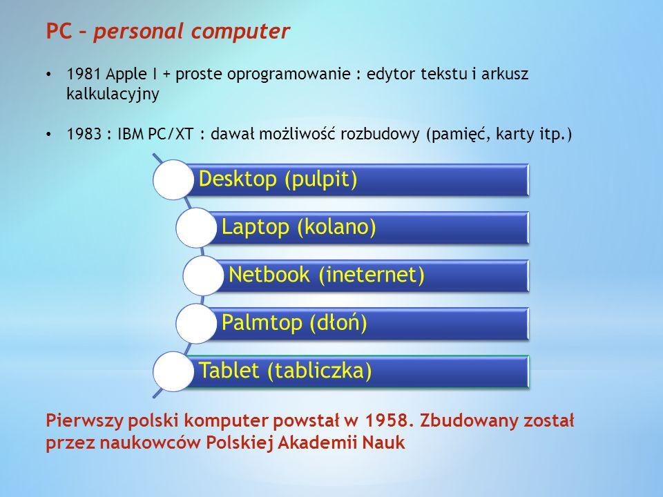 PC – personal computer Desktop (pulpit) Laptop (kolano)