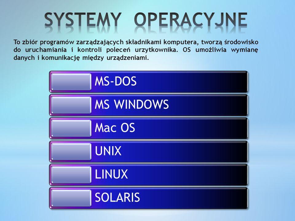 SYSTEMY OPERACYJNE MS-DOS MS WINDOWS Mac OS UNIX LINUX SOLARIS