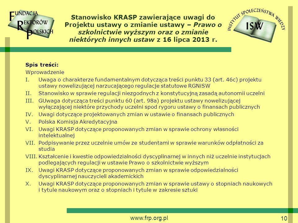 Stanowisko KRASP zawierające uwagi do Projektu ustawy o zmianie ustawy – Prawo o szkolnictwie wyższym oraz o zmianie niektórych innych ustaw z 16 lipca 2013 r.
