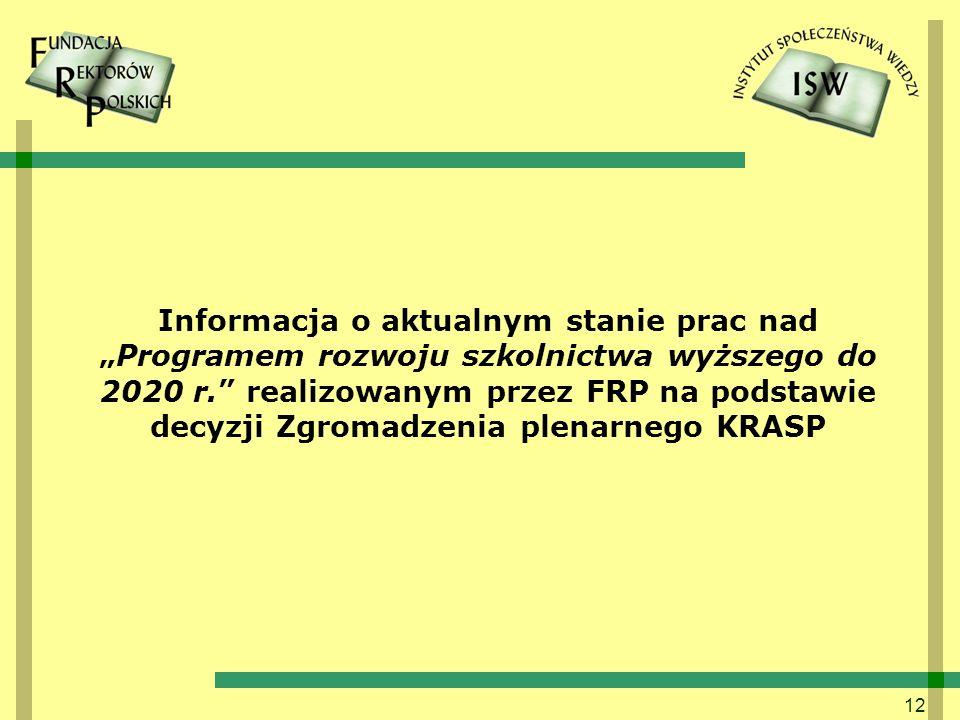 """Informacja o aktualnym stanie prac nad """"Programem rozwoju szkolnictwa wyższego do 2020 r. realizowanym przez FRP na podstawie decyzji Zgromadzenia plenarnego KRASP"""