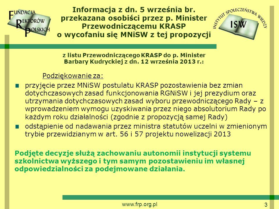 Informacja z dn. 5 września br. przekazana osobiści przez p