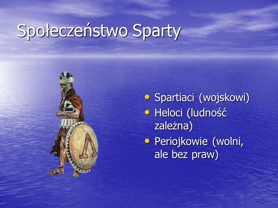 Społeczeństwo Sparty Spartiaci (wojskowi) Heloci (ludność zależna)