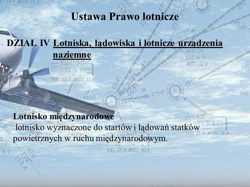 DZIAŁ IV Lotniska, lądowiska i lotnicze urządzenia naziemne
