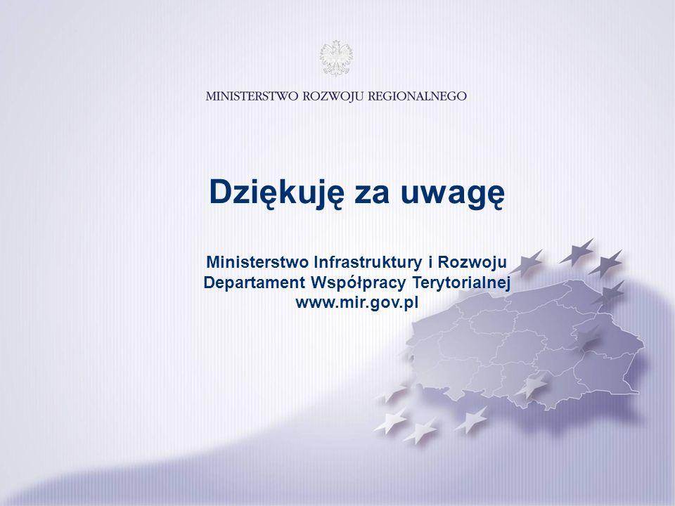 Dziękuję za uwagę Ministerstwo Infrastruktury i Rozwoju Departament Współpracy Terytorialnej www.mir.gov.pl.