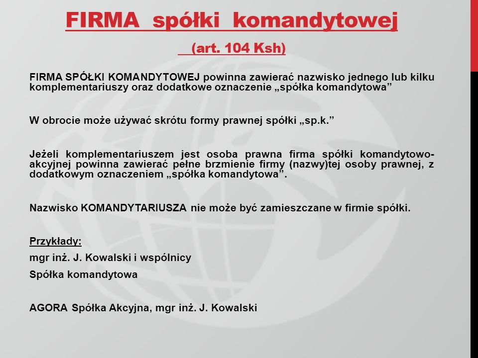 FIRMA spółki komandytowej (art. 104 Ksh)