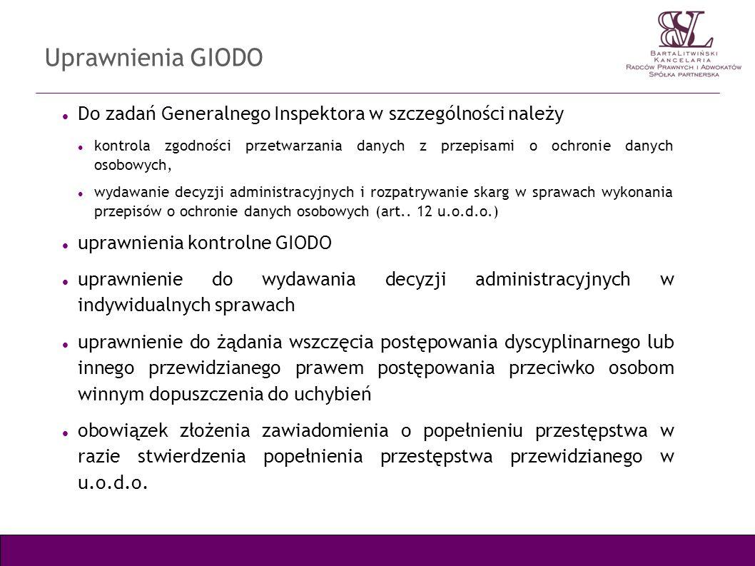 Uprawnienia GIODO Do zadań Generalnego Inspektora w szczególności należy.