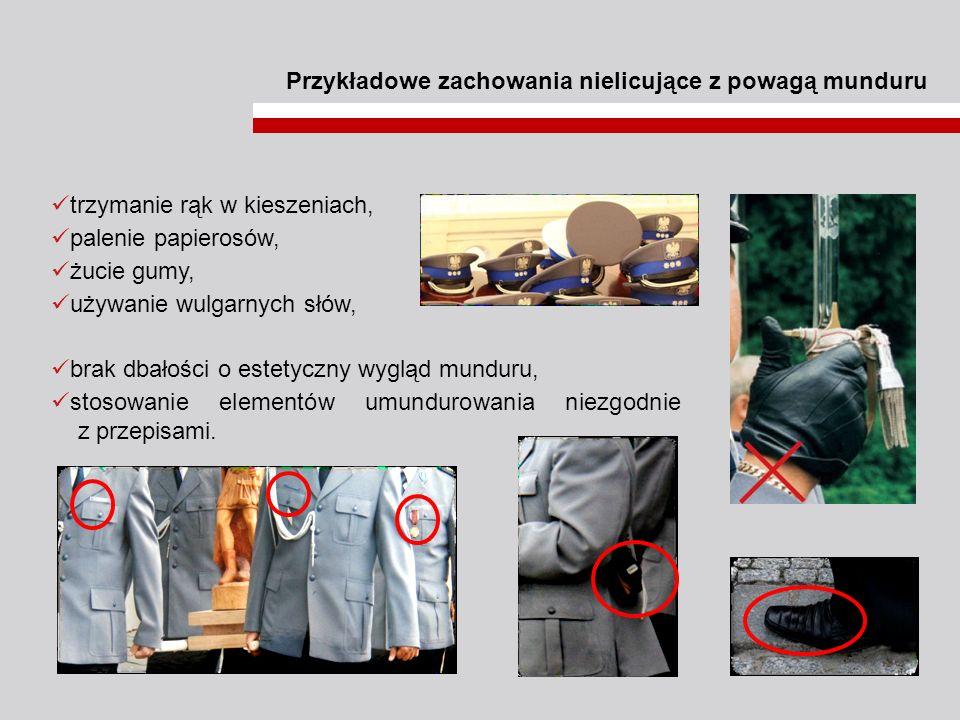 Przykładowe zachowania nielicujące z powagą munduru