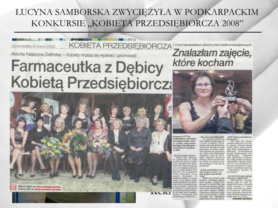 """LUCYNA SAMBORSKA ZWYCIĘŻYŁA W PODKARPACKIM KONKURSIE """"KOBIETA PRZEDSIĘBIORCZA 2008"""