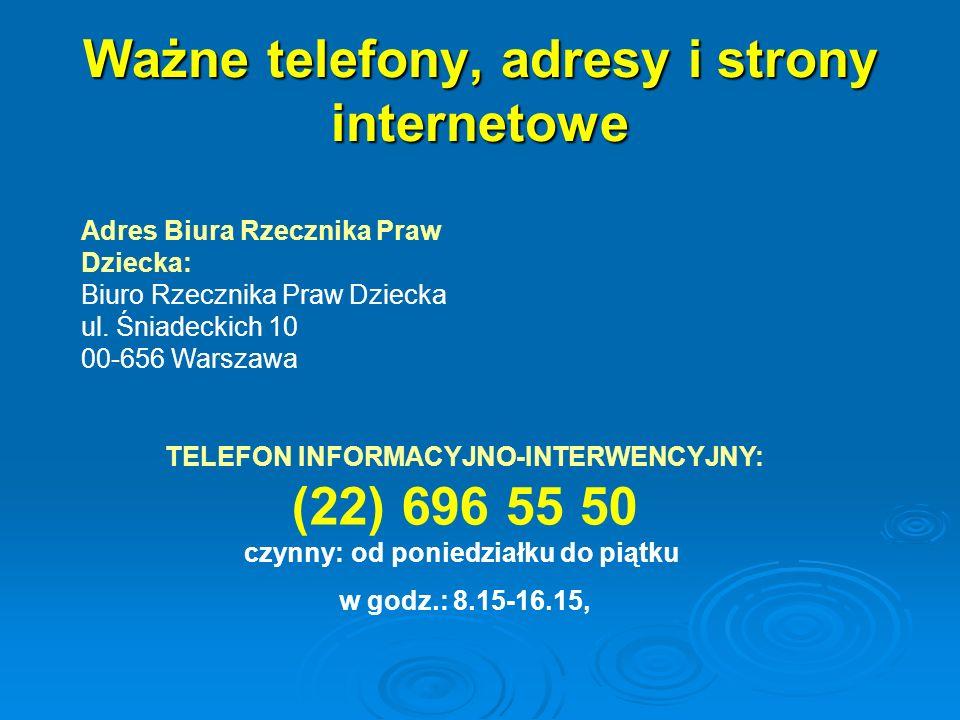 Ważne telefony, adresy i strony internetowe
