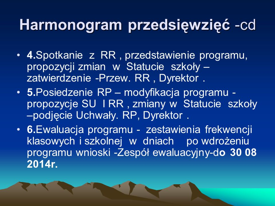 Harmonogram przedsięwzięć -cd