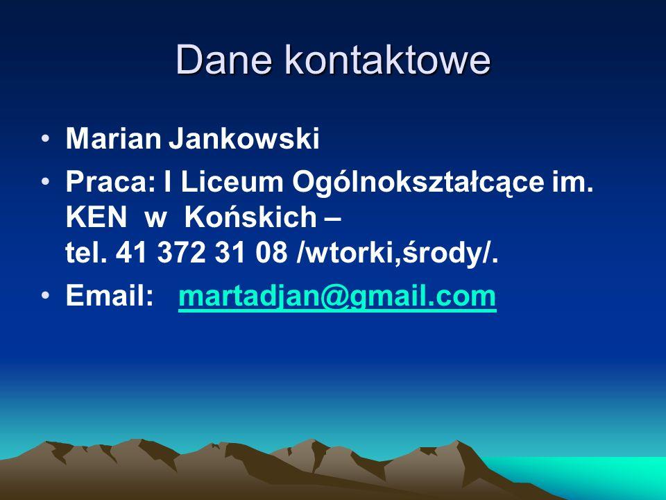 Dane kontaktowe Marian Jankowski