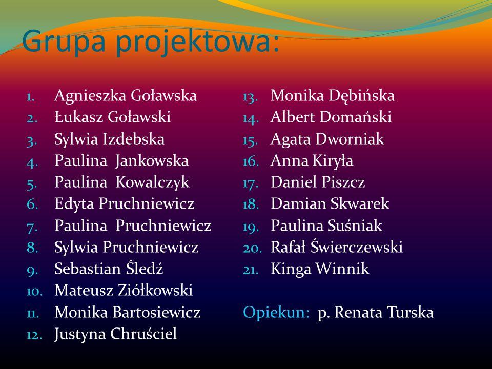 Grupa projektowa: Agnieszka Goławska Monika Dębińska Łukasz Goławski