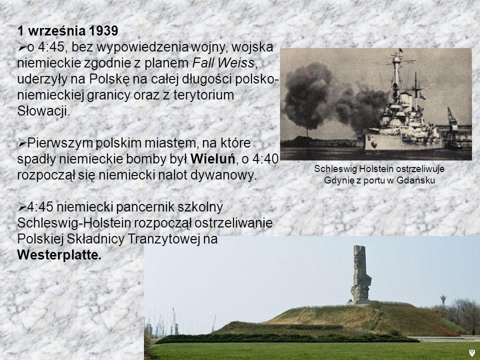 Schleswig Holstein ostrzeliwuje Gdynię z portu w Gdańsku