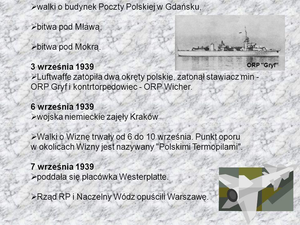 walki o budynek Poczty Polskiej w Gdańsku, bitwa pod Mławą,