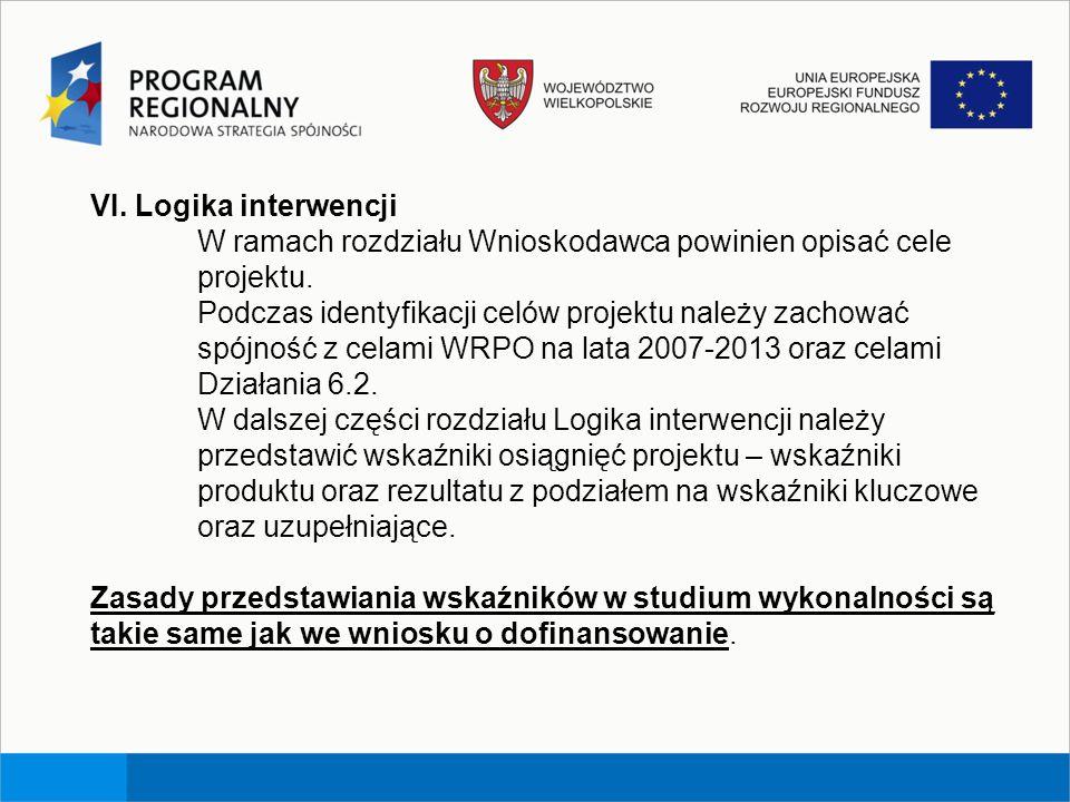 VI. Logika interwencji W ramach rozdziału Wnioskodawca powinien opisać cele projektu.
