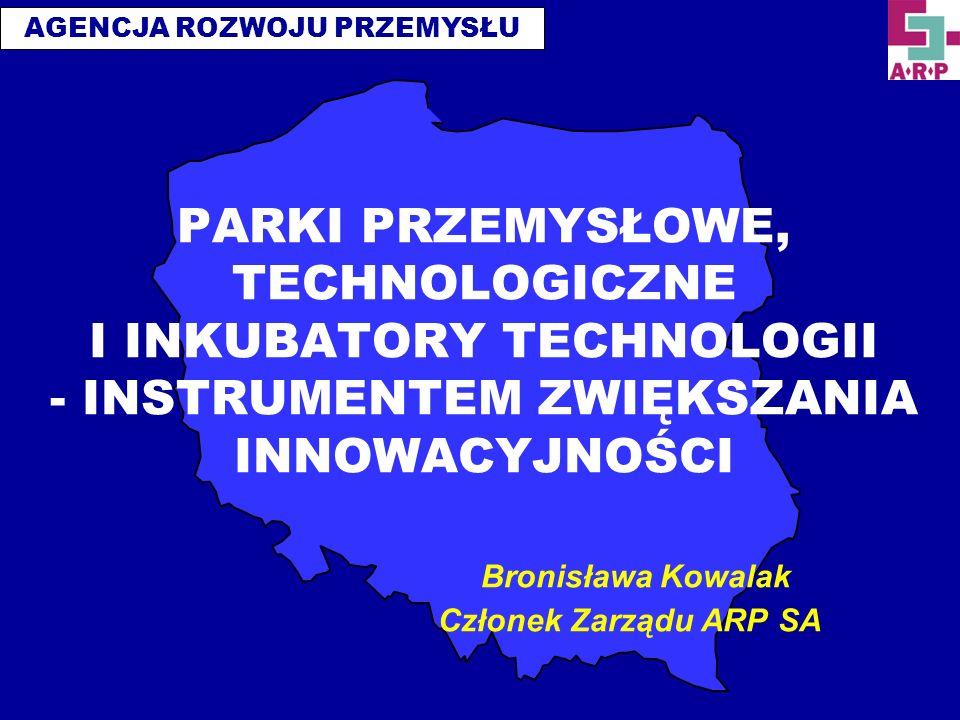 PARKI PRZEMYSŁOWE, TECHNOLOGICZNE I INKUBATORY TECHNOLOGII - INSTRUMENTEM ZWIĘKSZANIA INNOWACYJNOŚCI Bronisława Kowalak Członek Zarządu ARP SA