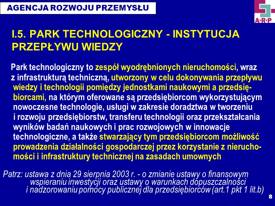 I.5. PARK TECHNOLOGICZNY - INSTYTUCJA PRZEPŁYWU WIEDZY