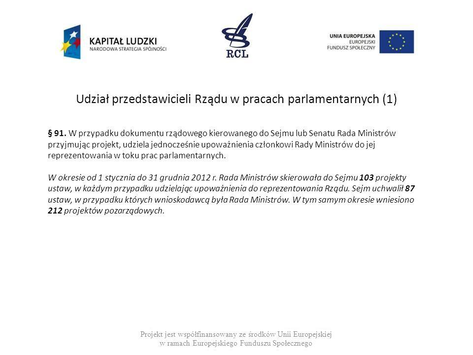 Udział przedstawicieli Rządu w pracach parlamentarnych (1)