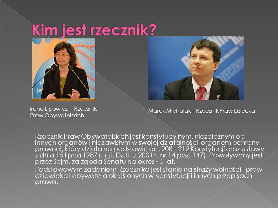 Kim jest rzecznik Irena Lipowicz – Rzecznik. Praw Obywatelskich. Marek Michalak – Rzecznik Praw Dziecka.