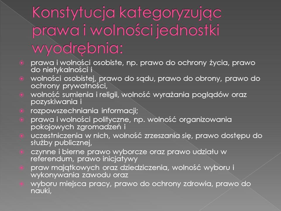 Konstytucja kategoryzując prawa i wolności jednostki wyodrębnia:
