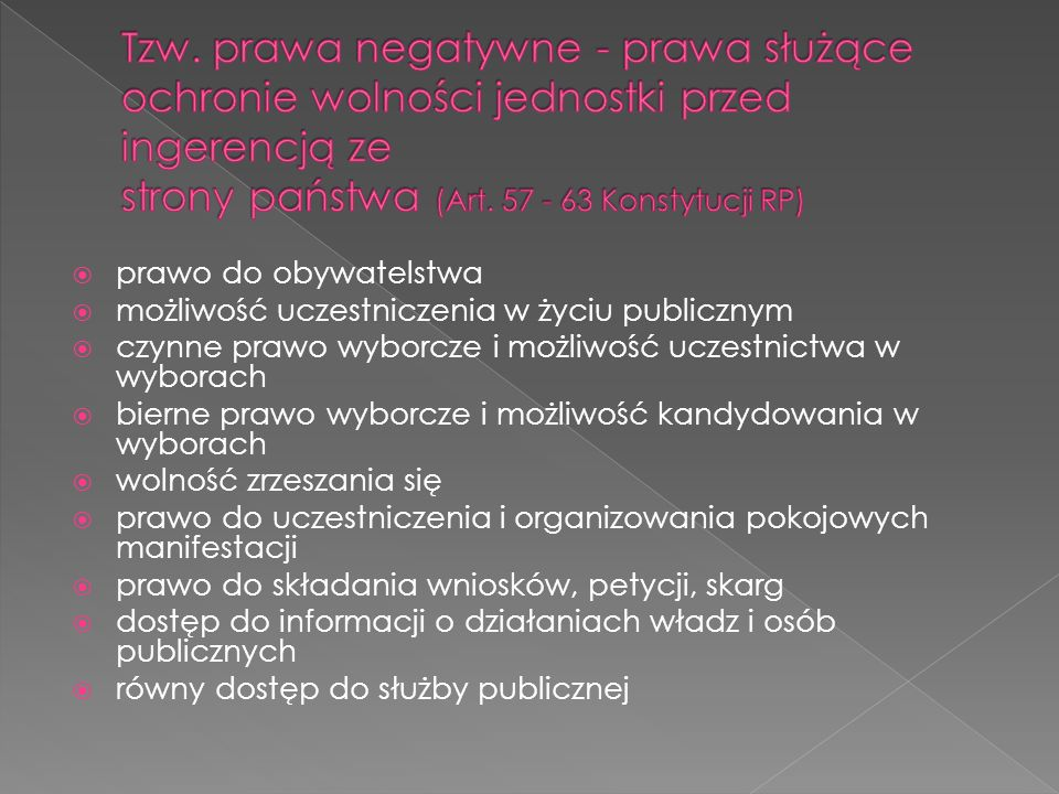 Tzw. prawa negatywne - prawa służące ochronie wolności jednostki przed ingerencją ze strony państwa (Art. 57 - 63 Konstytucji RP)