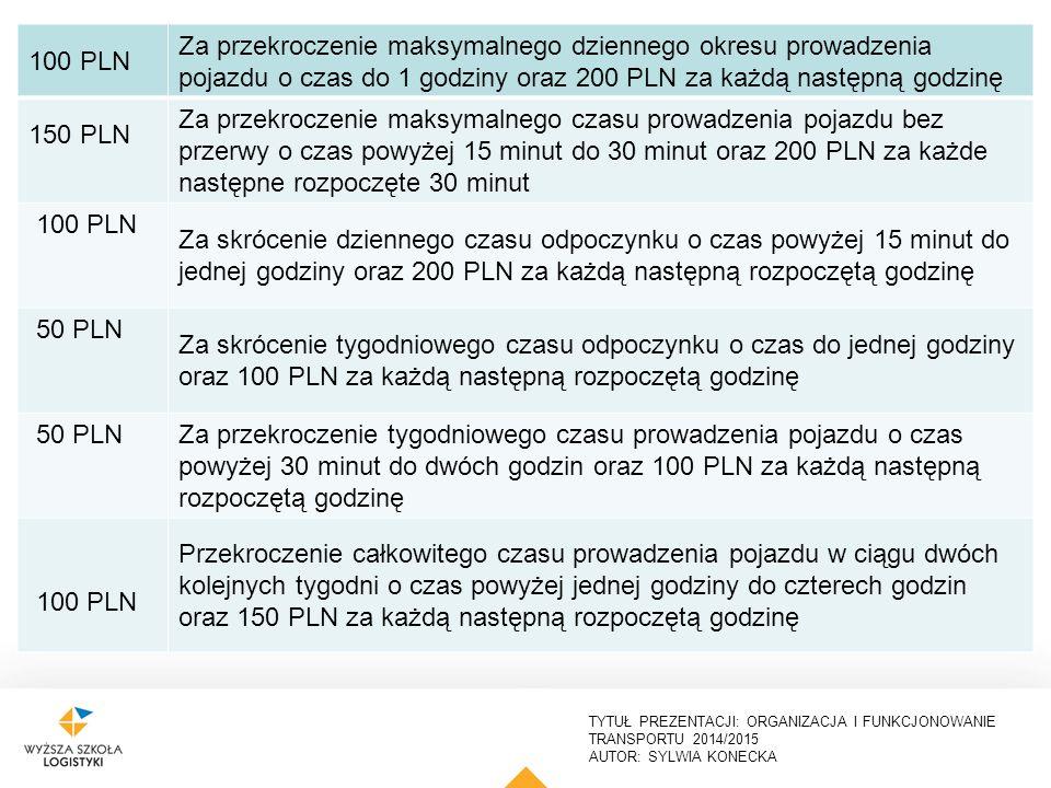100 PLN Za przekroczenie maksymalnego dziennego okresu prowadzenia pojazdu o czas do 1 godziny oraz 200 PLN za każdą następną godzinę.