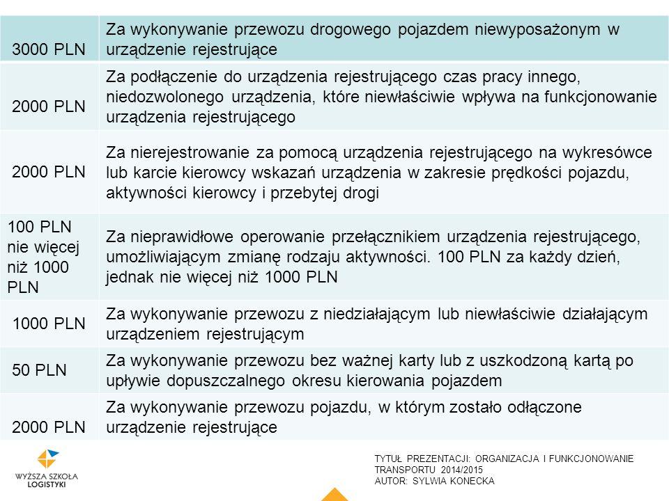 3000 PLN Za wykonywanie przewozu drogowego pojazdem niewyposażonym w urządzenie rejestrujące. 2000 PLN.