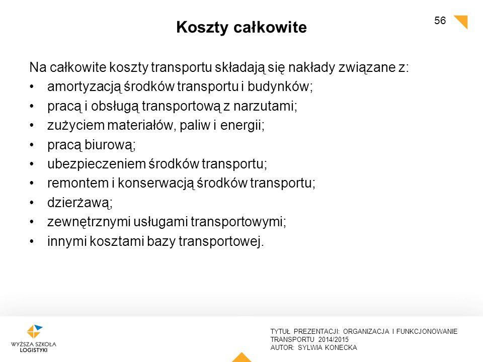 Koszty całkowite Na całkowite koszty transportu składają się nakłady związane z: amortyzacją środków transportu i budynków;