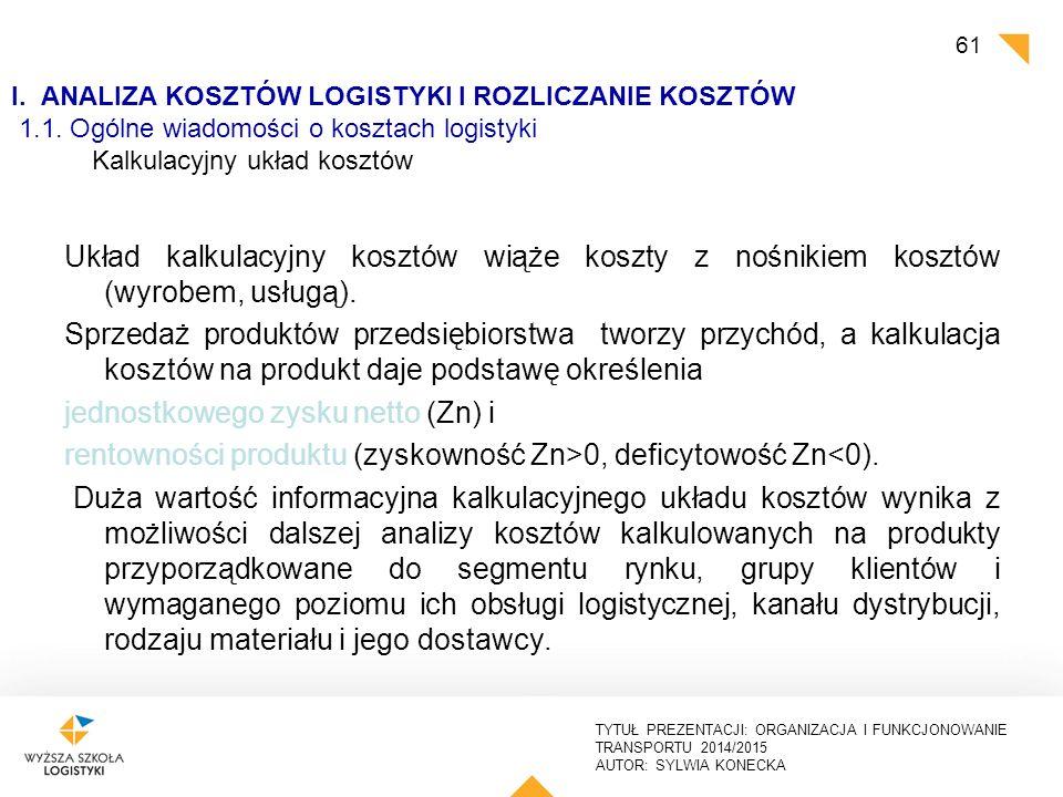 I. ANALIZA KOSZTÓW LOGISTYKI I ROZLICZANIE KOSZTÓW 1. 1