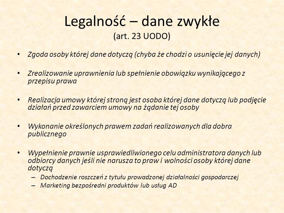 Legalność – dane zwykłe (art. 23 UODO)