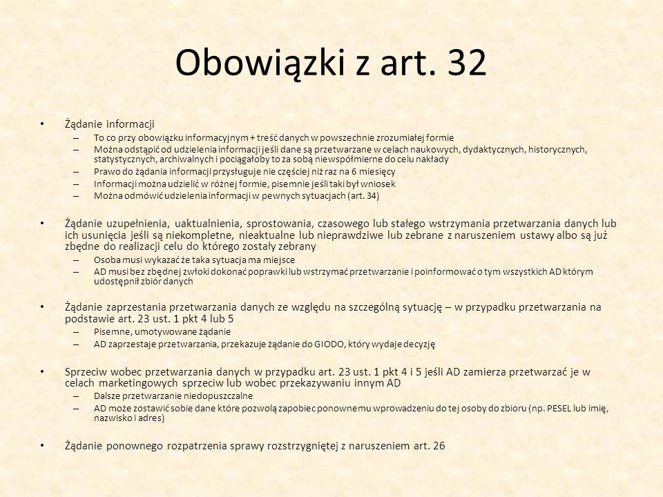 Obowiązki z art. 32 Żądanie informacji