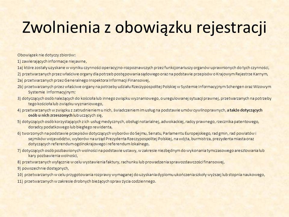 Zwolnienia z obowiązku rejestracji