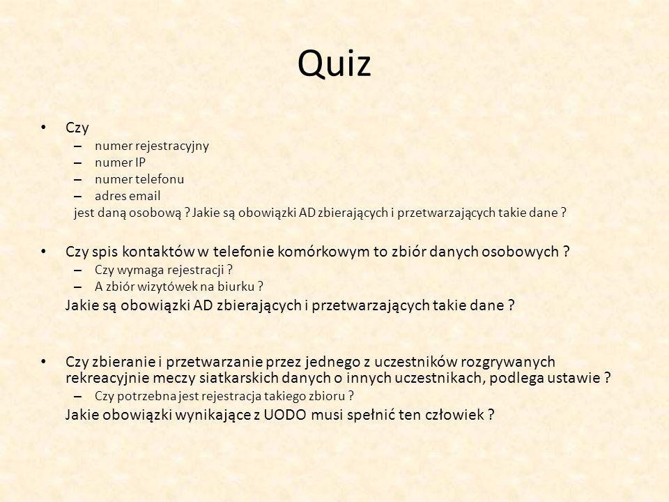 Quiz Czy. numer rejestracyjny. numer IP. numer telefonu. adres email.