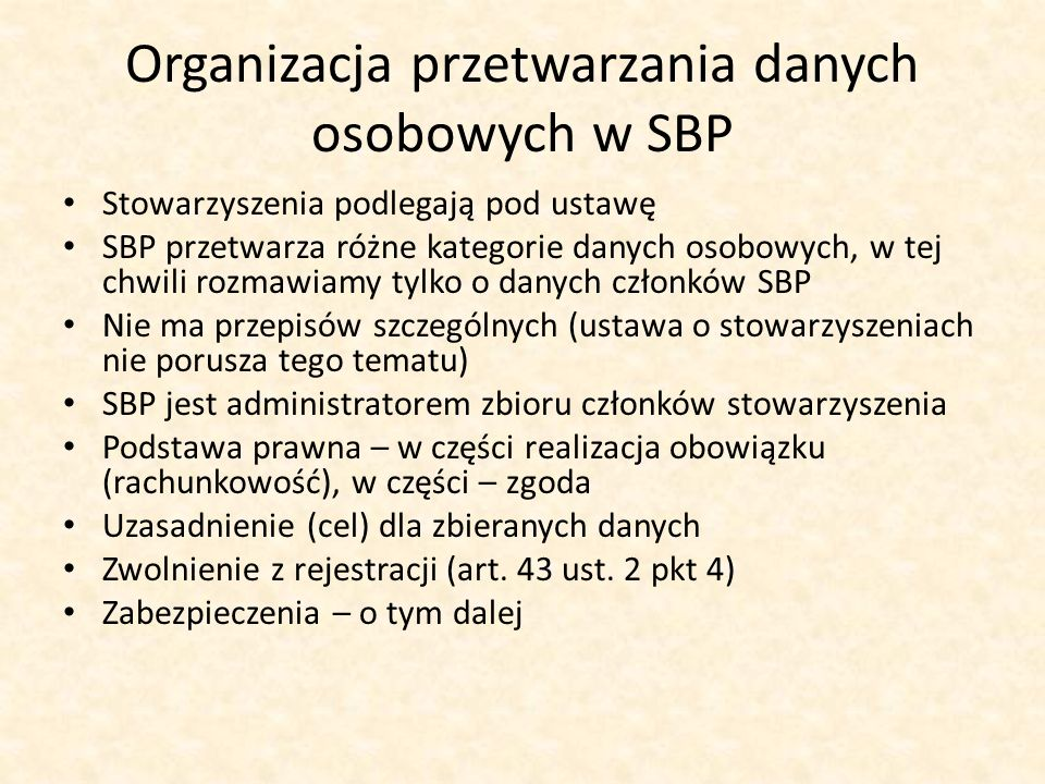 Organizacja przetwarzania danych osobowych w SBP